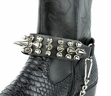 Spiked Out Genuine Leather Boot Strap Chain Bikers Boot Retro Cowboy Steampunk