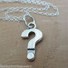 Question Mark Necklace - 925 Sterling Silver - Punctuation Mark Question Charm