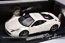 Hot wheels 1/18 elite ferrari 458 alonso edition white