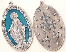 "Miraculous Virgin Large Medal 6"" x 3-3/4"" w/ Blue Enamel (Lady of Grace) - Italy"