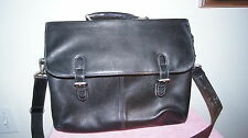 El Portal Black Pebbled Leather Messenger/Laptop Bag, mint condition