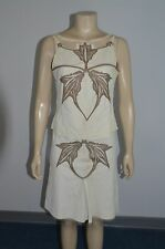STEPHEN Made in Italy Beige/Brown Genuine Suede/Leather 2pc Dress Size 6 On Sale