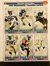 1993 MCDONALD'S LIMITED EDITION 1993 SEAHAWKS GAMEDAY TRADING CARDS