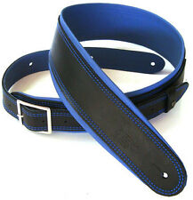 "DSL 2.5"" Black Leather Guitar Strap With Blue Piping (GEB25-15-8)"