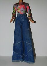 Barbie Happenin Hair Doll Outfit Wide Leg Jeans Pants & Flower Print Top Shirt