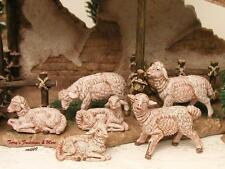 "FONTANINI DEPOSE ITALY 3.5""-4.5"" WHITE SHEEP 6PC NATIVITY VILLAGE ANIM 55016 NIB"
