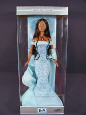 NIB BARBIE DOLL 2002 BIRTHSTONE COLLECTION MARCH AQUAMARINE BLACK AA