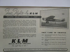 7/1947 PUB KLM ROYAL DUTCH AIRLINES AMSTERDAM FOKKER F.VIII ORIGINAL AD