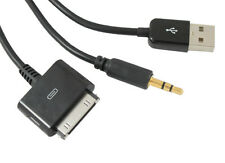 Dock to AUX 3.5mm Car Audio Cable + USB Port Rechargeable for iPhone 4 4S iTouch