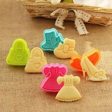 Girl Gress Shoes Fondant Cake Mould Cookie Biscuit Plunger Cutter Sugarcraft Set