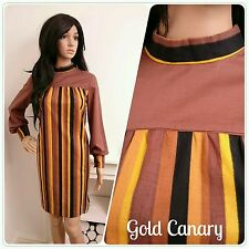 Vintage 60s Brown Yellow Stripe Mod Scooter Cotton Mini Shift Dress M 12 14 40