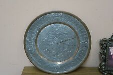 """Vintage Etched Copper Islamic Persian Persepolis Plate Engraved 11.5"""""""