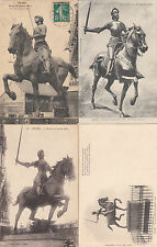 Lot 4 cartes postales anciennes REIMS statue jeanne d'arc 1