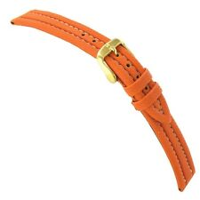 16mm Hirsch Active Sport Genuine Rubber Orange Padded Stitched Watch Band LONG