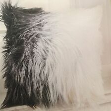 Beautiful Decorative Faux Fur Pillowcase Black and White Zip Excellent Gift Idea
