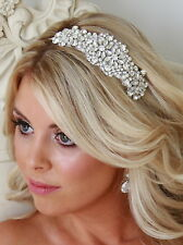 CARMEN HEADBAND Vintage Wedding Tiara Hairband Pearl Bride Rhinestone Hairpiece