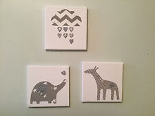 SET OF 3 HANDMADE GREY ELEPHANT GIRAFFE CLOUD CANVASES nursery vintage children