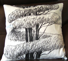 "Designers Guild Linnaeus Cushion Cover Black on White 17""x17"" double sided"