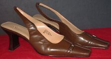 Anne Klein Brown Leather Slingback Square Top Heels Pumps Size 9M