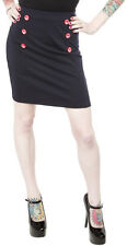 130169 Navy Blue with Red Anchor Buttons Sailor Bop Skirt Sourpuss X-Large XL