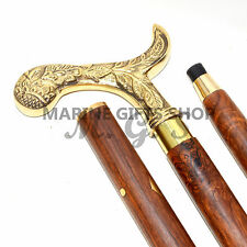 "Vintage Antique Style, Brass Handle Wood Victorian Canes & Walking Sticks 37"" L"