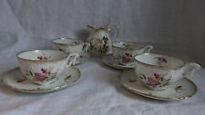 Very Decorative Bone China Part Tea Set/Service - Pink and Green Floral