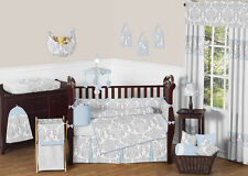 BOUTIQUE DESIGNER BLUE GREY WHITE DAMASK BABY GIRL BOY UNIQUE CRIB BEDDING SET