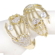 Cool Skull Hand Bangle Bracelet Cuff Clear Rhinestone Crystal For Halloween