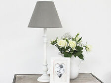 ANTIQUE WHITE WOODEN LAMP BASE & GREY LINEN SHADE TABLE/BEDSIDE SHABBY CHIC