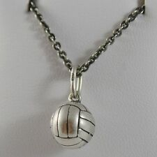 SOLID 925 BURNISHED SILVER NECKLACE WITH VOLLEY BALL PENDANT CHARM MADE IN ITALY