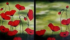 Set of 2, Quality Hand Painted Oil Paintings, Poppies Heaven 20x24in/ea