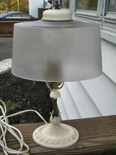 VINTAGE CAST IRON TABLE LAMP LIGHT W/ORIGINAL SHADE GREAT WORKING CONDITION