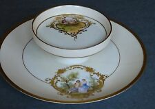 Antique Porcelain, Gold Beaded, Two-Tiered Cheese Caviar Cracker Plate