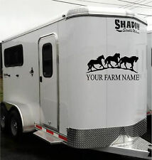 Your Farm Company Name & Horses Border Horse Trailer Truck Decal Sticker 20x40