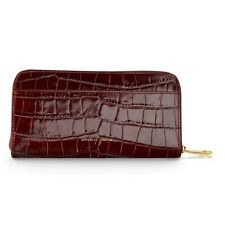 Aspinal of London Leather Continental Clutch Zip Wallet in Amazon Croc.