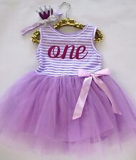 Baby Girl Purple Lavender First Birthday Outfit Tutu Dress Crown Headband One