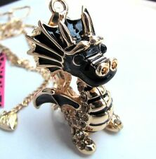 Betsey Johnson crystal Black enamel Cute dragons pendant Necklace#137L