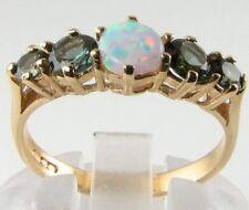 Clásico hecho a mano 9k Opal & Verde Turmalina la mitad de la Eternidad Anillo
