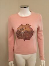 A&G BY AMAL GUESSOUS 100% WOMEN'S CASHMERE SWEATER WITH SWAROVSKI CRYSTAL SIZE M