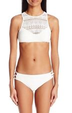 NWT Roxy Drop Diamond Crop Top & Knotted 70's Bikini Medium White retail $90