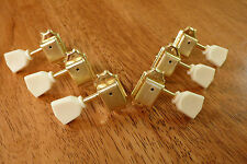 GUITAR TUNERS TUNING PEGS VINTAGE STYLE 3x3 GOLD WITH KEYSTONE HANDLES
