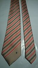 Pierre Cardin Men's Vintage Tie in Beige with Red and Navy Stripe