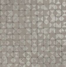 Wallpaper Designer Gray Silver Metallic Faux Mosaic Tiles Modern Geometric