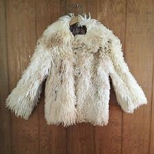 Vtg 60s Mongolian Curly Lamb Shearling Jacket Coat Tooth Toggle S M