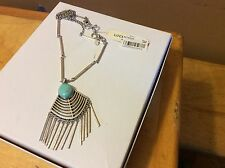 $49 Lucky Brand Silver-Tone Faux Turquoise Stone Fringe Pendant Necklace LB 11