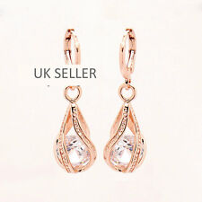 ROSEGOLD Filled White Crystal/Cubic Zirconia Diamante Round Drop Earrings-Bridal