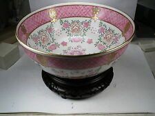 VINTAGE Large   Bowl Decorated in Hong Kong ACF 10""