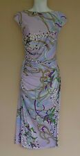 Emilio Pucci Size 46 12 Lavender Green & White Floral Print Viscose Jersey Dress