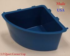 12 pcs Blue 1.5 Quart Hanging Water Feed Corner Cage Cups Poultry Chicken Bowl