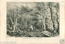 Indians Forest Indiens North Western Yukon Canada GRAVURE ANTIQUE OLD PRINT 1878